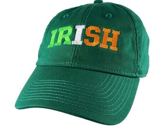 Irish Green Ireland Flag Colors Embroidery on an Adjustable Kelly Green Unstructured Baseball Cap with Option to Personalize the Back