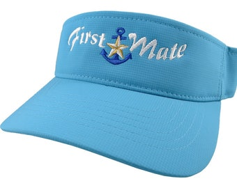 First Mate White Embroidery Nautical Star Anchor on an Adjustable Sporty Stylish Modern Aqua Blue Visor Summer Hat Cruising World Travel