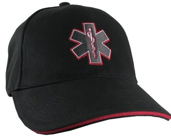 Paramedic EMT EMS Star of Life Embroidery on Adjustable Black Red Line Structured Baseball Cap with Options to Personalize on Two Locations
