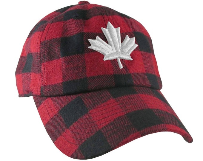 Featured listing image: Canadian White Maple Leaf 3D Puff Embroidery Red and Black Buffalo Check Plaid Soft Structured Fashion Baseball Cap Dad Hat Style Lumberjack