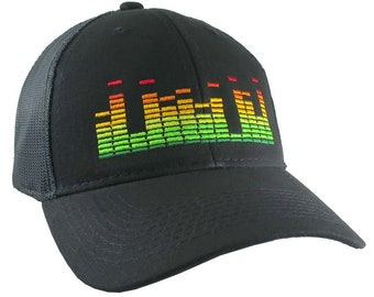 DJ Club Music Sound Equalizer Graphic Embroidery on an Adjustable Black Structured Trucker Cap with Options to Personalize
