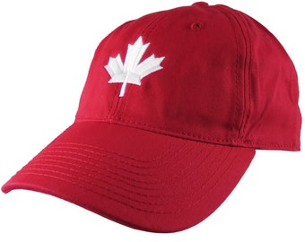 Canadian White Maple Leaf Canada Embroidery on an Adjustable Red Unstructured Classic Baseball Cap with Option to Personalize the Back