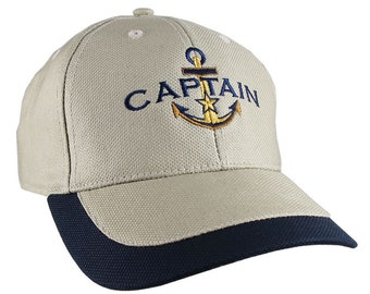 Nautical Golden Star Anchor Captain Embroidery on an Adjustable Khaki Beige and Blue Structured Baseball Cap with Options to Personalize