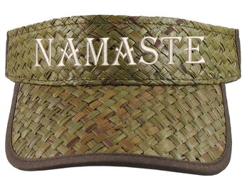 Namaste Embroidery on an Adjustable Stylish Fashion Olive Green Straw Visor Yoga Teacher Summer Hat