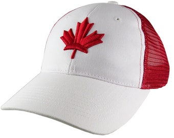 Red Canadian Maple Leaf 3D Puff Raised Embroidery on an Adjustable White and Red Low Profile Trucker Cap Happy Canada Day
