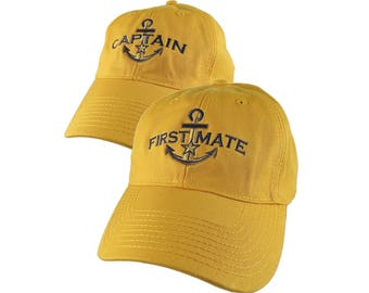 Nautical Star Golden Anchor Captain + First Mate Embroidery 2 Adjustable Golden Yellow Unstructured Ball Caps Options Personalize Both Hats