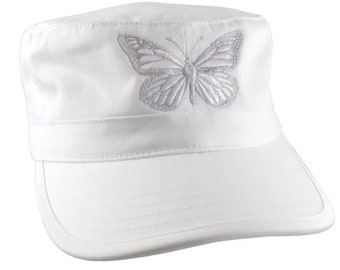 Custom White Monarch Butterfly Embroidery on an Adjustable Unstructured White Cadet Style  Fashion Cap