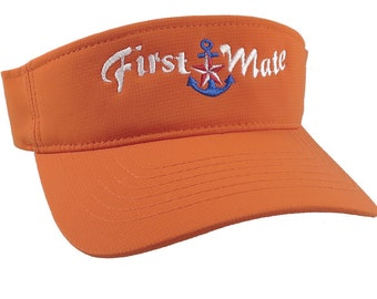 First Mate White Embroidery Nautical Star Anchor on an Adjustable Sporty Stylish Modern Orange Visor Summer Hat Cruising World Travel