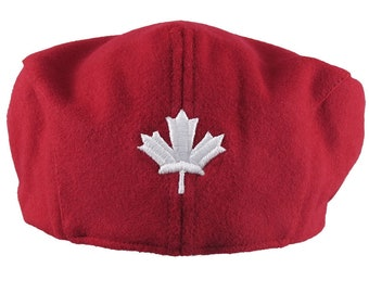 Canadian White Maple Leaf 3D Puff Embroidery on an Adult Size Red Melton Wool Ivy Cap