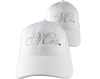 Mr. and Mrs. Duo Newlyweds Husband Wife His Hers Embroidery on 2 Adjustable Structured White Baseball Caps Option to Personalize the Back