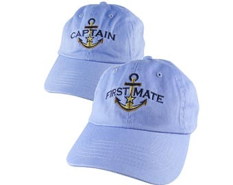 Nautical Star Golden Anchor Captain + First Mate Embroidery 2 Adjustable Pastel Blue Unstructured Baseball Caps Options to Personalize Hats