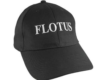 FLOTUS Cap The First Lady of The USA Melania Trump 45 Style Embroidery on Adjustable Mid Profile Soft Structured Black Fashion Baseball Cap