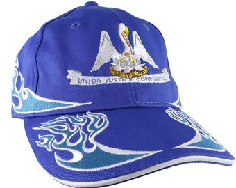 Louisiana State Flag Embroidery on Adjustable Split Wave Aqua Racing Flames Soft Structured Fashion Royal Baseball Cap + Personalize Option