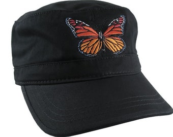 Custom Colorful Monarch Butterfly Embroidery on an Adjustable Unstructured Black Cadet Style  Fashion Cap