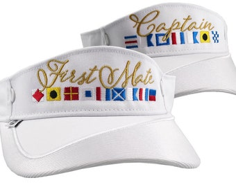 Captain and First Mate Nautical Flags Embroidery Couple White Visors Duo Adjustable Elegant Fashion Sun Hats