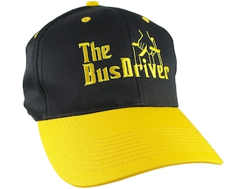 Bus Driver Godfather Yellow School Bus Driver Embroidery Adjustable Structured Black and Yellow Pro Style Cap with  Personalization Options
