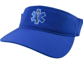 Paramedic Star of Life Caduceus EMT EMS Embroidery on an Adjustable Sporty Stylish Modern Royal Blue Visor Summer Hat