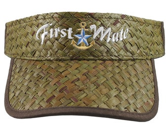 First Mate Nautical Star Golden Anchor Embroidery on an Adjustable Stylish Fashion Olive Green Straw Visor Boating Beach Summer Hat