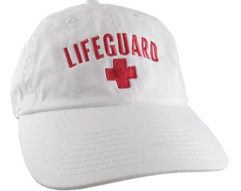 Beach Swimming Pool Lifeguard Red Embroidery on Adjustable White Unstructured Baseball Cap Dad Hat with Option to Personalize the Hat