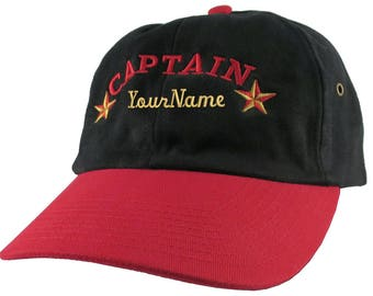 Personalized Captain Stars Your Name Embroidery Adjustable Black and Red Unstructured Low Profile Dad Hat with Option to Personalize Back