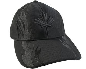 Black on Black Canadian Maple Leaf 3D Puff Style Embroidery Design on a Black Adjustable Structured Fashion Black Racing Flames Baseball Cap