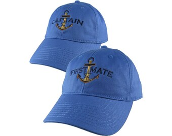 Nautical Star Golden Anchor Captain and First Mate Embroidery 2 Adjustable Sky Blue Unstructured Baseball Caps Options Personalize Both Hats