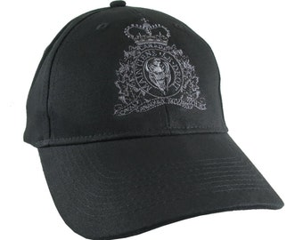 Canadian RCMP GRC Veteran Mounted Police Crest Embroidery with Motto on Adjustable Black Structured Baseball Cap + Options to Personalize
