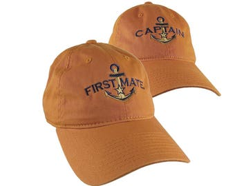 Nautical Star Golden Anchor Captain + First Mate Embroidery 2 Adjustable Burnt Orange Unstructured Baseball Caps Options to Personalize Hats