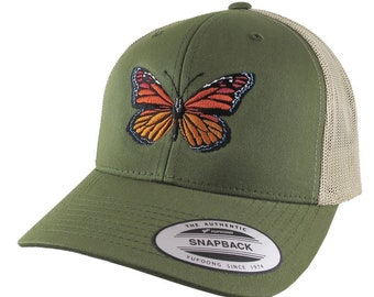 Monarch Butterfly Embroidery on an Adjustable Olive Green and Tan Yupoong Structured Classic Trucker Style Snapback Ball Cap