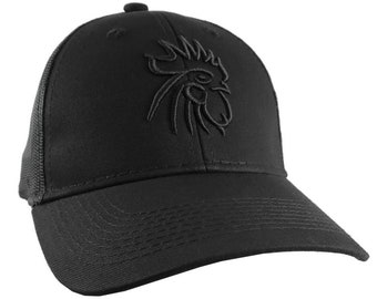 Rooster Head Black 3D Puff Raised Embroidery on an Adjustable Black Structured Truckers Style Snapback Ball Cap