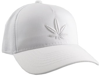 Cannabis Marijuana Pot Leaf 3D Puff White Embroidery on an Adjustable White Structured Trucker Style Snap-back Ponytail Baseball Cap