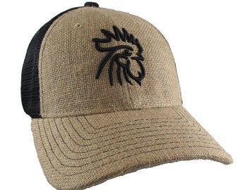 Rooster 3D Puff Black Embroidery on an Adjustable Natural Burlap Jute and Black Mesh Structured Trucker Style Baseball Cap