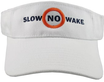 Slow No Wake Nautical Marina Boating Signage Embroidery on an Adjustable Unisex Visor Cap Summer Sailing Hat