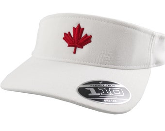 3D Puff Red Maple Leaf Embroidery on an Adjustable Sporty Stylish White Yupoong Flexfit Visor Canadian Canada Summer Hat