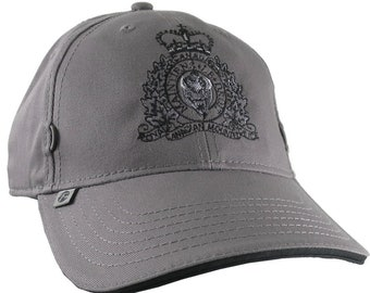 Canadian RCMP GRC Veteran Mounted Police Crest Motto Embroidery Adjustable Charcoal Soft Structured Baseball Cap with Options to Personalize