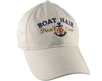 Nautical Anchor Boat Hair Don't Care Embroidery on an Adjustable Stone Beige Unstructured Baseball Cap with Option to Personalize the Back