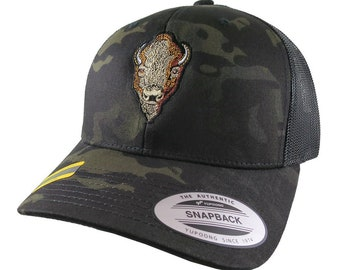 Buffalo Head Embroidery on an Adjustable Black Yupoong Multicam Structured Trucker Style Snap Back Ball Cap