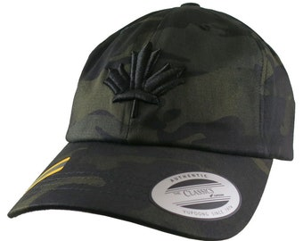 3D Puff Black Maple Leaf Embroidery on Adjustable Black Multicam Unstructured Premium Yupoong Ball Cap + Options Personalize Two Locations