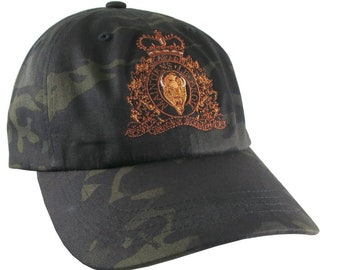 Canadian RCMP GRC Veteran Mounted Police Crest Motto Embroidery Adjustable Unstructured Yupoong Multicam Dad Hat + Options to Personalize