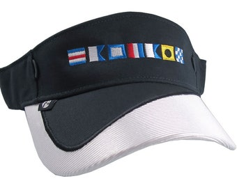 Boat Captain Nautical Flags Embroidery on a Navy Blue and White Visor Adjustable Elegant Fashion Sun Hat