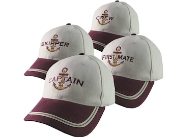 Nautical Star Anchor Captain and Crew Embroidery Adjustable Burgundy and Beige Structured Baseball Cap Options to Personalize Boat Name