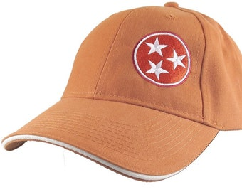 Tennessee State Flag Symbol Embroidery Design on an Adjustable Burnt Orange Structured Classic Mid Profile Baseball Cap