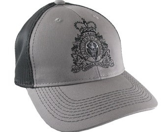 Canadian RCMP GRC Veteran Mounted Police Crest Motto Embroidery Adjustable Silver Grey Structured Trucker Cap with Options to Personalize