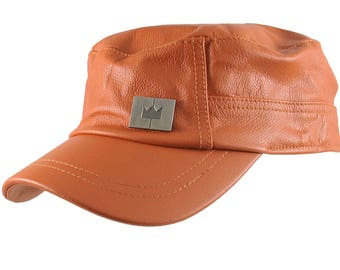 Genuine Burnt Orange Leather Low Profile Adjustable Army Cadet Flat Fashion Cap