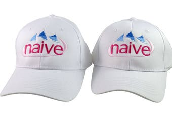 A Pair of Naive Evian Parody Humorous Embroidery Designs on 2 White Adjustable Structured Baseball Caps for Adult and for Child Age 6-14