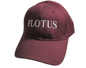 FLOTUS Typography First Lady of the United States Melania Trump Style White Embroidery on an Adjustable Structured Burgundy Red Baseball Cap