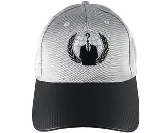 Anonymous Logo Embroidery on an Adjustable Silver and Black Soft Structured Classic Style Fashion Baseball Cap