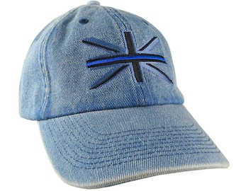 The Thin Blue Line Symbolic on the Union Jack UK Flag Embroidery on an Adjustable Fashion Stylish Unstructured Blue Denim Baseball Cap