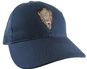 Buffalo Head Embroidery on an Adjustable Navy Blue Structured Trucker Style Snap Back Ball Cap