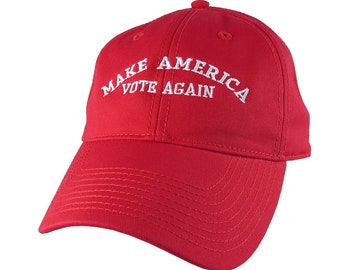 Make America Vote Again White Embroidery 2020 US Elections on a Red Adjustable Unstructured Classic Baseball Cap